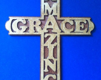 Medium Amazing Grace Cross with Solid Back