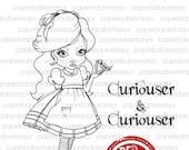MayLeeDee in Wonderland - Paperbabe Stamps - Red Rubber Cling Mounted Stamps - Cute Girl Rubber Stamp for paper crafting and scrapbooking.