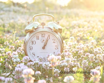 Im Late, Fine Art Photograph, Photography, Clock, Time, Golden Hour, Alice in Wonderland, White Rabbit, Nursery, Gold, Vintage, Whimsical