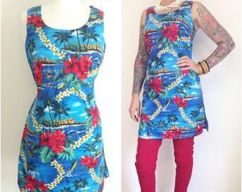 SALE REDUCED Hilo Hattie Hawaiian tiki 60s style shift dress, tea timer