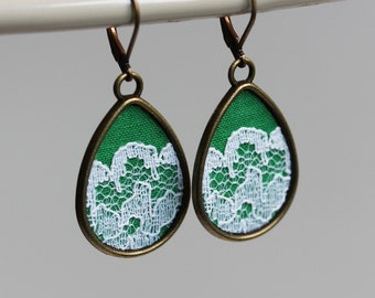 Green Boho Earrings, Teardrop Earrings, Lace Earrings, Bohemian Jewelry Accessories, Boho Wedding Jewelry, Green Bridesmaid Earrings
