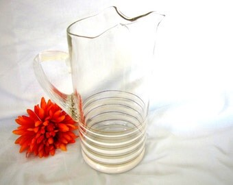 Mid Century Pitcher Modern Gold Band Frosted Band Tall Mid Century Barware from AllieEtCie