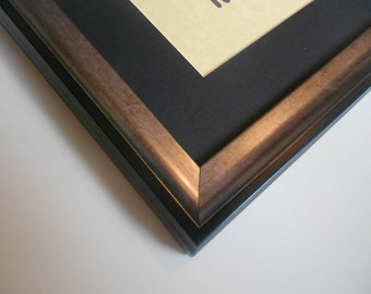 Black & Silver Picture Frame - 8 x 10 Wood Frame - Brushed Silver Finish Photo Frame