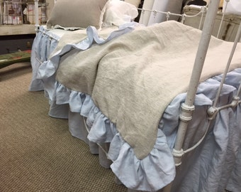 Toddler Bedding-Ruffled Toddler Bedding-Washed Linen-Machine Wash and Dry Toddler Linens-Toddler Bed Skirt-Ruffled Duvet with Insert-Pillow