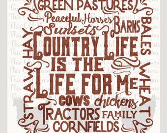 Country Life Subway Art SVG DXF JPG pdf png cutting file
