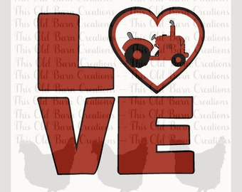 LOVE Tractor  SVG png DXF jpg pdf layered Cutting File