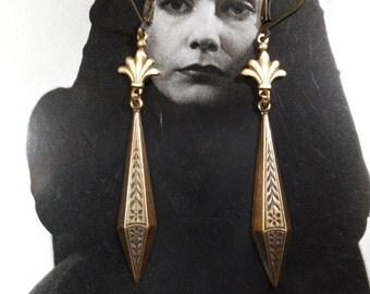 Phryne Fisher Earrings - 1920s Flapper - Art Nouveau Jewelry  - Long Dangle Earrings  - Art Deco Earrings - Vintage Style - Womens Jewelry