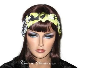 Black Turban, Yellow, Headband, Abstract, Fashion Turban, Fashionable, Womens. Half Turban, Hair Turban, Head Turban, Summer, Turbin, Buckle