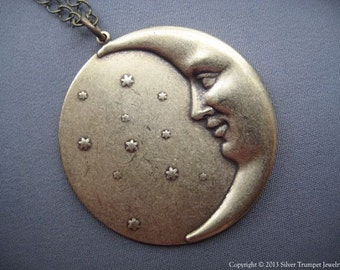 Moon Necklace - Moon Jewelry - Celestial Jewelry - Moon Face Necklace - Moon and Star Pendant - Crescent Moon - Moon Pendant