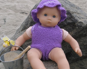 "Baby At the Beach Downloadable knitting pattern for any 15"" doll like American Girl Bitty Baby dolls in pdf format"
