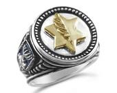 10k Gold Israel Medal of Valor Sterling Silver ring