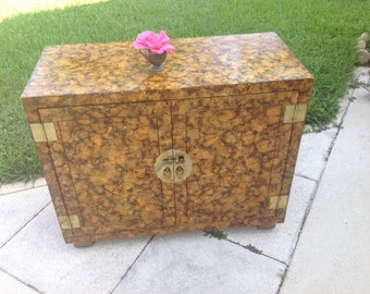 FAUX TORTOISE SHELL Cabinet Vintage Faux Tortoise Shell Chest / Henredon / Lacquered Credenza / 39 Inches Long / On Sale at Retro Daisy Girl