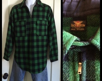 Vintage 1930's Buck Skein chin strap pullover Wool Shirt green black Buffalo Plaid looks size L