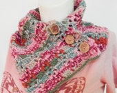 Neck warmer Scarf with Coconut buttons, pink green, Tuti Fruti, crochet, soft yarn, Cowl Wrap, Winter Wear ready to ship