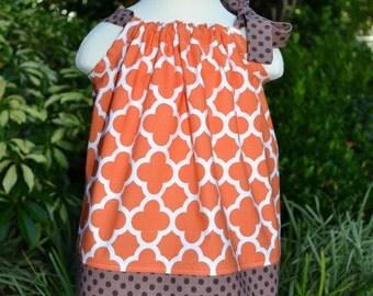 Thanksgiving Pillowcase Dress - Orange Quatrefoil dress fall baby dress toddler fall outfit fall dress autumn dress Thanksgiving dress