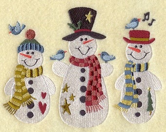 Snowmen Embroidered Terry Bathroom  Hand Towel -- You Pick the Color---Free Shipping