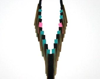 Zipper Textile Jewelry Black Pink Green Handmade Art To Wear Statement Designer Necklace