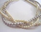 Rhinestone pearl braided twisted chunky statement pearl necklace bridesmaid bridal