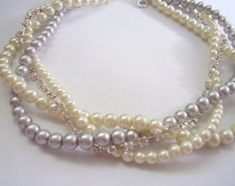 Rhinestone pearl braided twisted chunky statement pearl necklace bridesmaid bridal