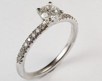 Diamond Engagement Ring,  18K White