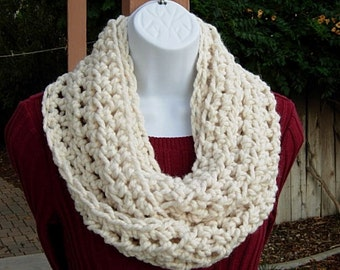 Solid Light Cream INFINITY SCARF Loop Cowl, Fisherman Off White, Wool Blend Crochet Knit Winter Circle, Neck Warmer..Ready to Ship in 2 Days
