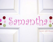Vinyl NAME Wall/Door Decal plus 2 Butterflies/4 Lollipop Flowers - Children - Nursery - Home Decor