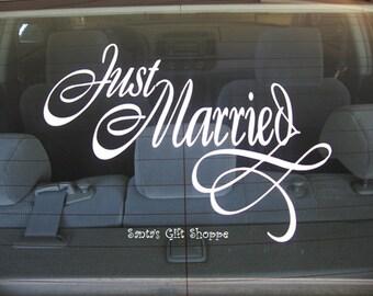 Just Married Wedding Vinyl Decal - Car Decal - Bride/Groom - Wedding Reception - Honeymoon