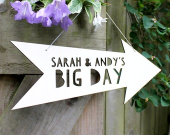 Personalised Wedding Wooden Arrow Sign