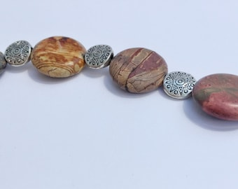 Kathleen - Picasso Jasper Stone Bracelet with Silver Plated Round Discs and Toggle Clasp