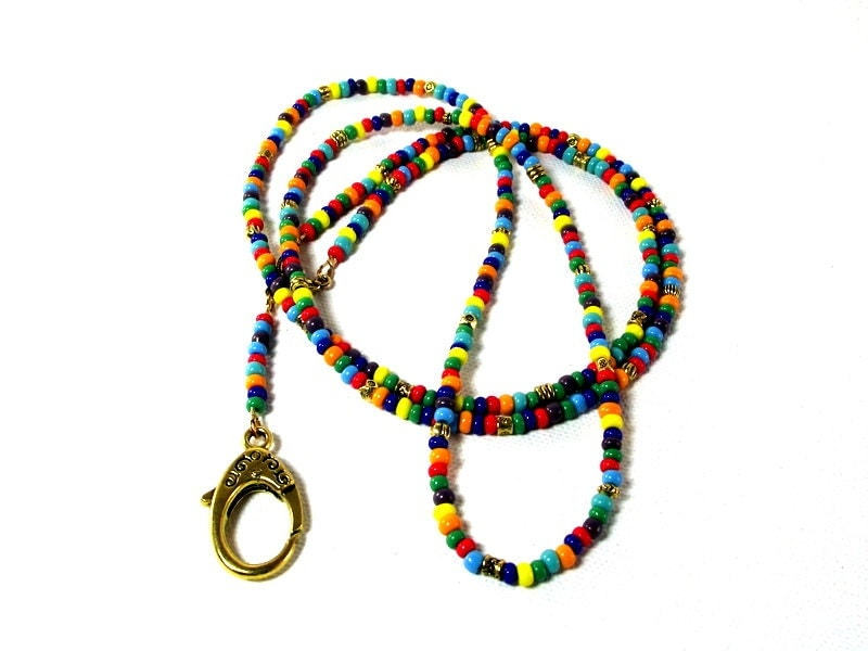 the rainbow colorful beaded eyeglass holder colorful