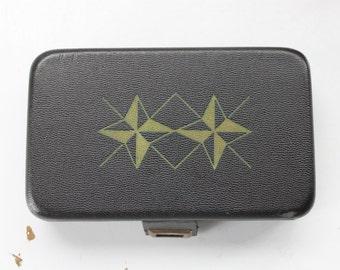 Atomic Jewelry Box | Vintage Jewelry Box | Black and Red Jewelry Box | Small Jewelry Box