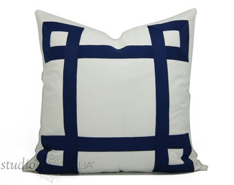 White and Navy Pillow Cover - 19 to 25 inch - Decorative Pillow Cover -  Ribbon Pillow - euro sham - navy and white - made to order