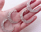 Filigree Crescent Connector Charm / New Moon Pendant (4pcs / 30mm x 39mm / Silver) Hollow Lune Link Celestial Quarter Moon Necklace CHM2177