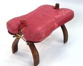 Large Leather Camel Stool, Nail Head Detail