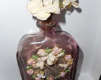 Purple Decorator Forked Bottle with Ribbon Work plus Vintage Millinery Accents (FFs1200)