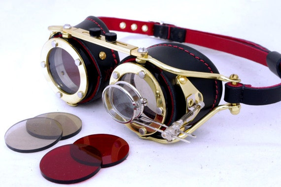 Steampunk Goggles Victorian Theatrical Goth Industrial Brass Goggles LARP BLK  - Exclusively from Steampunkdesign