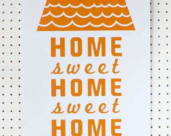 Home Sweet Home Yellow Print Poster A3