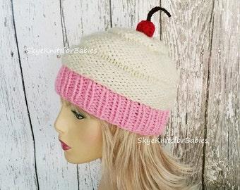 Knit Cupcake Hat, Women Cupcake Hat, Cupcake Beanie