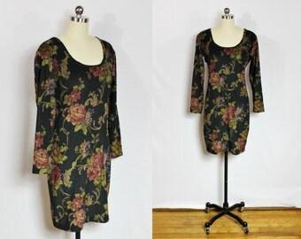 Vintage floral long sleeve mini dress
