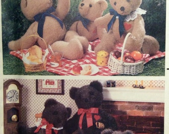 Vintage Sewing Pattern Teddy Bear Classic Stuffed Animal Toys 3 Sizes Uncut 1987