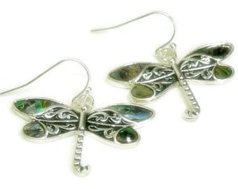 Dragonfly Earrings - Abalone Dragonflies - Dragonfly Jewelry - Nature - Summer - Boho Chic - Insect Jewelry - Bug Earrings