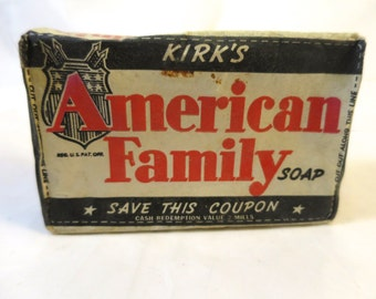Kirk's American Family Soap Bar 1930's Packaged Soap Bar for Laundry Chicago Soap Bar in Original Premium Package ca. 1930's