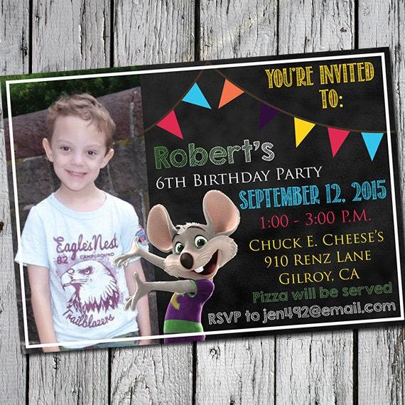 Chuck E. Cheese's Birthday Party Invitation Printable