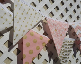 Pink and Gold Birthday Banner FABRIC Metallic Gold Arrow Banner Blush Pink GOLD Metallic Triangles Banner Baby Shower Baptism Bunting Banner