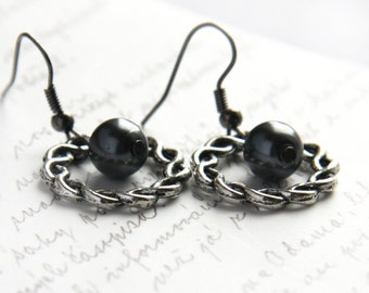 Summer Outdoors Summer Outdoors Elvish Earrings Black Pearl Wreath Earrings. Steampunk Earrings. Black Gunmetal Earrings Woodland Style