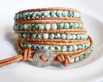 Leather Beaded Bracelet Gemstone Bracelet Green Stone Cuff
