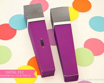 MICROPHONE Favor Box (Purple): DIY Printable PDF - Instant Download