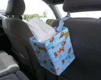 Kaaachews Car Tissue Caddie- Dachshund Pattern-  A Car Travel Necessity!