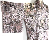 Vintage 1940s Kimono Robe // 30s 40s Hand Painted Crepe Silk Haori Kimono // Baroque Floral Print // DIVINE