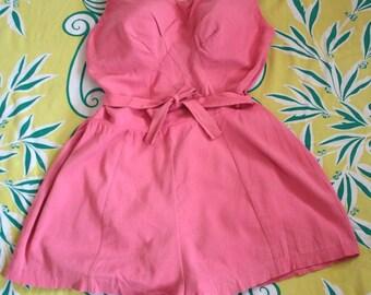 Vintage 1950s Swimsuit // 50s 60s Bubblegum Pink Pin Up Bathing Suit // Sea Stars